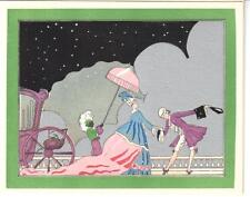 VINTAGE ART DECO POCHOIR CHRISTMAS GREETING CARD GENT GREETS LADY CARRIAGE SNOW