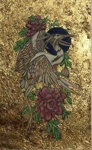 Original Mixed Media Bird Painting Impressionism on Board with Gold Leaf