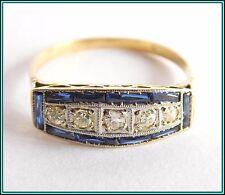 ART DECO VINTAGE RING - 18K Yellow & White Gold Diamonds & Sapphires Size 6¼