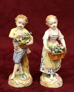 Pair of Antique Dresden Figurines Couple w/ Basket of Flowers