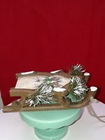 """Christmas Ornament  wood sled with pine cone design 5.75"""" long"""
