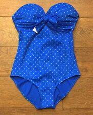 Spanx 2694 One-Piece Swimsuit sz 6 blue polka dot strapless nwot missing straps