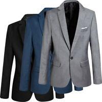 Fashion Mens Slim Fit Business Blazer Jacket Coat Formal Wedding Party Tops UK