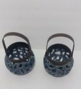 2 Piece Set Blue Glazed Circle Lanterns Ceramic Outdoor Patio Candle Holders