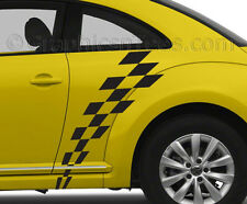 VW  Beetle Car Body Sticker Racing Checker Flag Custom Side Stripe Graphic Decal