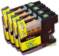 4 Yellow LC123 Ink Cartridges For Brother DCP752DW DCPJ4110DW MFCJ4410DW non-OEM