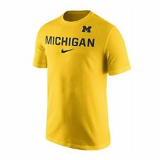 UNIV. OF MICHIGAN UM WOLVERINES YELLOW MAIZE NIKE TEE-SHIRT ADULT LARGE ( L )