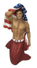 December Diamonds Figure Ornament Patriot Us Flag American Glitter Mermen Statue