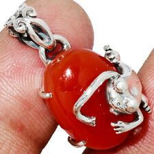 Frog - Carnelian 925 Silver Pendant Jewelry Ap233240