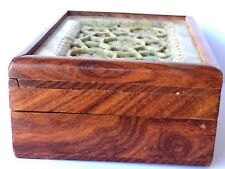 VINTAGE CHINESE HUANGHUALI? WOOD JEWELRY BOX W/ HAND CARVED NATURAL STONE TOP