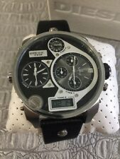 DIESEL DZ7125 SBA OVERSIZED SILVER MR. DADDY BLACK LEATHER MEN`S WATCH