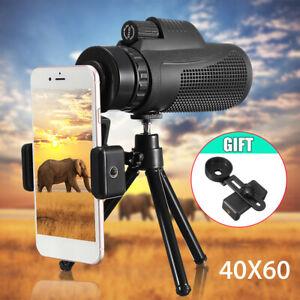 Monocular 16X52/40X60 HD Zoom Telescope Telephoto Camera Lens Phone Holder