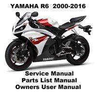 YAMAHA YZF R6 600 Owners Workshop Service Repair Parts List Manual PDF on CD-R