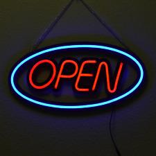 Neon Optik LED Schild 60x30cm Leuchtreklame Werbung Stopper Leuchtschrift OPEN 1