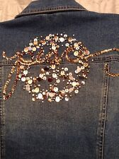 Jack B. Quick Holiday Peace Small Faded Blue Jean Jacket with Embellishments