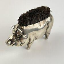 More details for antique edwardian solid silver novelty pig form pen wipe 1906 henry matthews