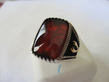 Islamic Style sterling silver 925  mens ring rectangular shape brown size 8.5