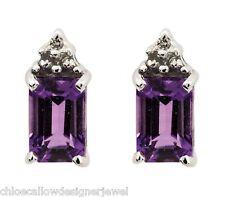 Sterling Silver Diamond + Purple Amethyst Set Ear Studs Earrings + gift bag