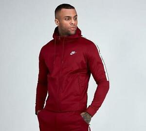Mens Nike Sportswear Tribute Full Zip Red/White Hooded Top (NAH1) RRP £59.99