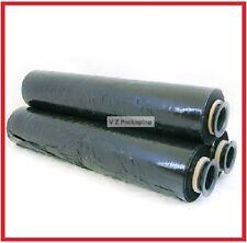 FREE SYD DEL - 4 ROLLS 500MM X 400M BLACK 17UM - STRETCH FILM PALLET SHRINK WRAP