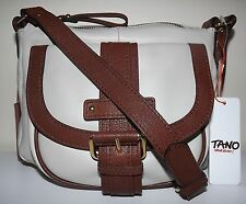 NEW TANO HANDBAGS LEATHER TOP ZIP CROSSBODY BAG ADJUSTABLE STRAP WHITE/BROWN