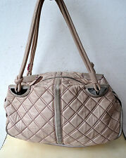 Rare MIMCO Quilted Pale Pink Leather Natural Day Bag Handbag Contrast Stitching