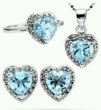 4.15 CT BLUE TOPAZ & 6 PCS WHITE DIAMOND 0.925 STERLING SILVER W/ PLATINUM