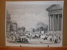 Gravure 19° Vue de Paris boulevard Malesherbes prise de la rue Royale
