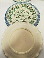 Set 4 UNIQUE Handcrafted Decorative Plates Signed Artist 2007 VINES Wave Edge