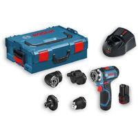 Bosch GSR 12V-15 FlexiClick 12V 5-in-1 Drill Driver Set (2x 2.0Ah, 4x Adapters,