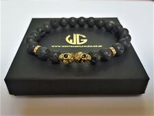 Skull Beaded 8MM Lava stone beads Gold Skull Men's / LADIES Bracelet