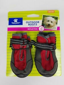 """NEW Top Paw Red Reflective Protective Dog Outdoor Rain/Snow Boots - Size M 3.25"""""""