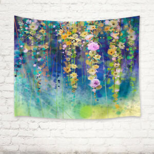 Spring Nature Abstract Floral Watercolor Painting Tapestry Wall Hanging Bedroom