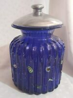 Cobalt Blue Ribbed Art Glass Canister Jar & Millefiori Beads Embedded Metal Lid