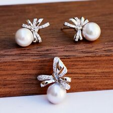Nice AAAA+ Japan Akoya seawater Light Grey Pearl w/S925 Bowknot pendant Earring