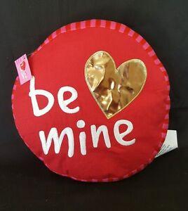 "Valentines Decorative Pillow Red Gold Heart Be Mine 13"" Creative Design round"