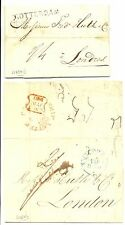 NEDERLAND 1820/37  2 LETTER TO LONDON  MANY POSTMARKS SEE ALBUM PAGE!!!