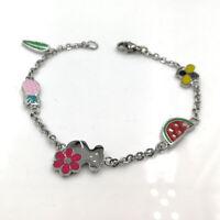 Stainless Steel Fashion Women Drops Watermelon Leaves Bear Charm Bracelet Gift
