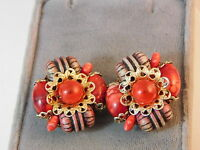 Vintage Hong Kong Red Gold Bead cluster Clip on Earrings 9e 75