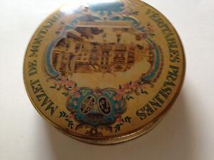 Boîte ancienne ronde métal praslines de Montargis, TBE
