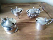More details for four antique sterling silver mustard pots, two victorian & two george 'v'.