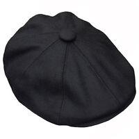 Gents Black Wool 8 Panel Gatsby flat cap Boy Baker Boy S M L XL