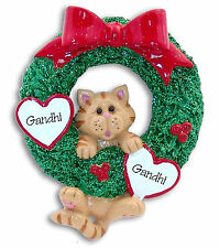 Orange Tabby CAT in WREATH Hand painted RESIN Personalized Christmas Ornament
