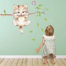 Wall Stickers for Cute Cat Butterfly Tree Branch Kids Rooms Home Decoration