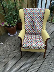 Unique Handmade Reupholstered Wing chair