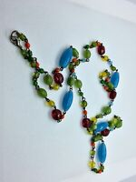 "Vintage 20s Czech Glass Bead Chain Art Deco Flapper 18"" Necklace"