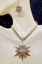 Harley Lady 2-Tone Starburst Pendant & Earrings Set Biker Jewelry