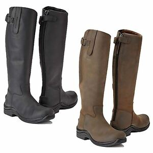 Toggi Calgary Adults Long Leather Riding Country Walking Boots SIZES 36-43