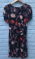 Peacocks Size 14 Black Autumn Leaf Print Short Sleeved Fit & Flare Dress