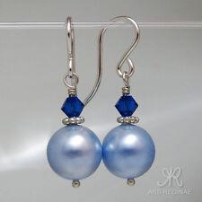 """● 10mm ● SC Perlen Ohrringe blau ÖKO """"grünes"""" Silber ● Anlaufschutz"""